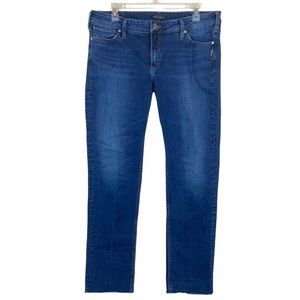 Silver Jeans Elyse Slim Raw Hem Straight Jeans 33